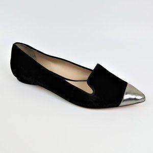 GUILHERMINA Black Velvet Silver Pointed Toe Flats
